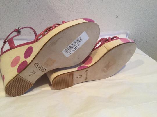 Coach Polka Dots $20 OFF Pink and white leather soles Wedges