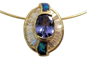 Other 1.3 CTw OV Tanzanite, 2.4 CTw Diamond Black Opal Slide, 14 KT YG