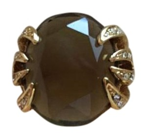 Stella & Dot Self sizing ring. Beautiful smoky glass and pave crystal gold ring.