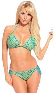 Dippin Daisy Dippin Daisy Women's Blue Green Tribal Bikini 2 Piece Swimsuit