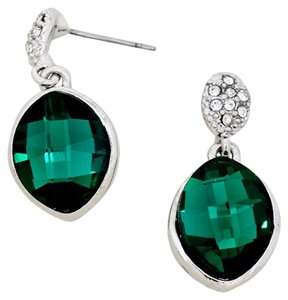Emerald Green Rhinestone Crystal Silver Earrings