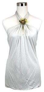 Gucci Womens Halter Brooch Off White Halter Top
