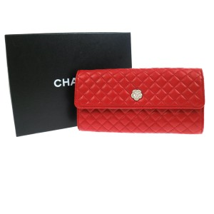Chanel Chanel NEW Red Lambskin Jewelry Travel Storage Case Clutch in Box