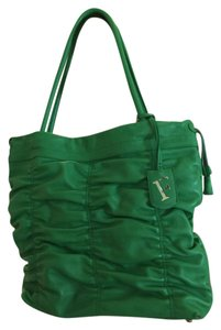 Furla Leather Rouched Tote in Green