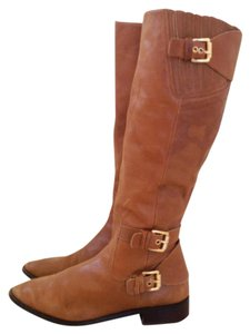 Michael Kors Leather Brown Gold Hardware Camel Boots