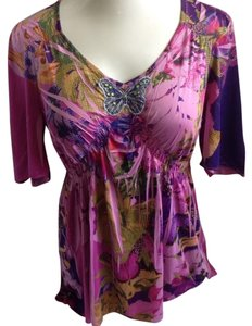 One World Bohemian Butterfly Sublimation Top Purple