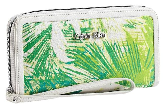 Item - Green/White Hailey Palm Print Zip Continental Wallet