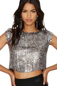 MLV Crop Sequin Top Silver