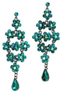 Emerald Green Rhinestone Crystal Earrings