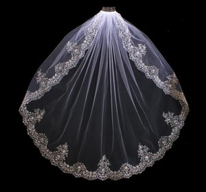 Extravagant Beaded Silver Embroidery Fingertip Length Wedding Veil