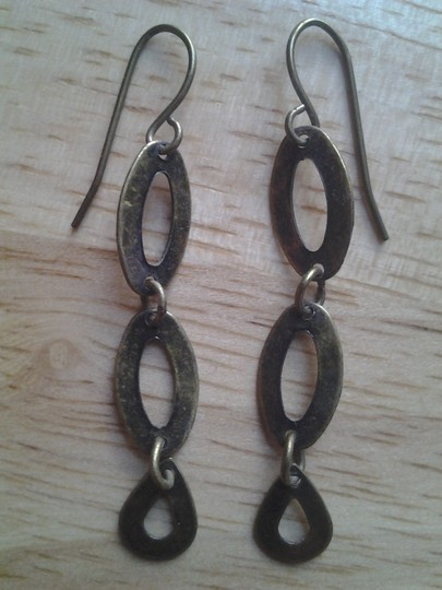 handmade New Antiqued Brass Cutout Oval Teardrop LINK DANGLE EARRINGS