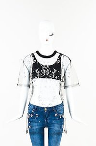 Givenchy Mesh Faux Pearl Embellished Ss Sheer Top Black