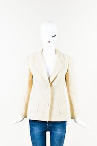 Chanel 03c Wool Boucle Buttoned Structured Cream Jacket