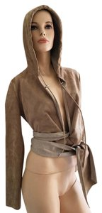 Ralph Lauren Sample Piece Label Suede Hooded grey Leather Jacket