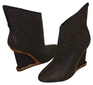 BCBGMAXAZRIA Black and Gold Boots