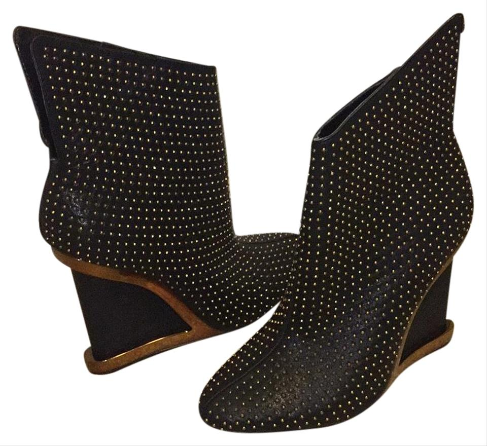 WOMEN BCBGMAXAZRIA Black and Gold toughness Boots/Booties A balance between toughness Gold and hardness 5ed44b