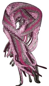 Unknown Purple Pink Striped Knitted Thick Cozy Boho Scarf