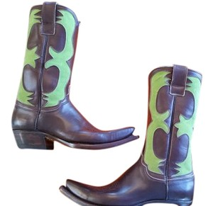 Riccardo Freccia Bestetti Brown with Lime Green Boots