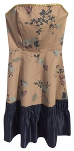 Anthropologie Cotton Silk Strapless A-line Dress