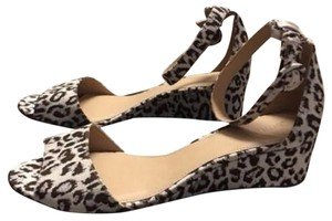 J.Crew Animal Print Suede Leather Ivory Brown Silver Wedges