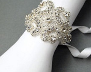 Beaded Tie On Bridal Bracelet