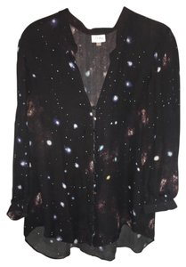 Parker Galaxy Space Print Silk Top Black / Multi