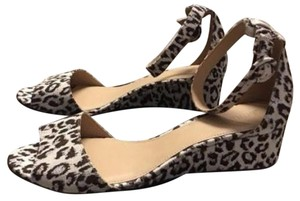 J.Crew Animal Print Suede Leather Leopard Print Ivory Brown Silver Sandals