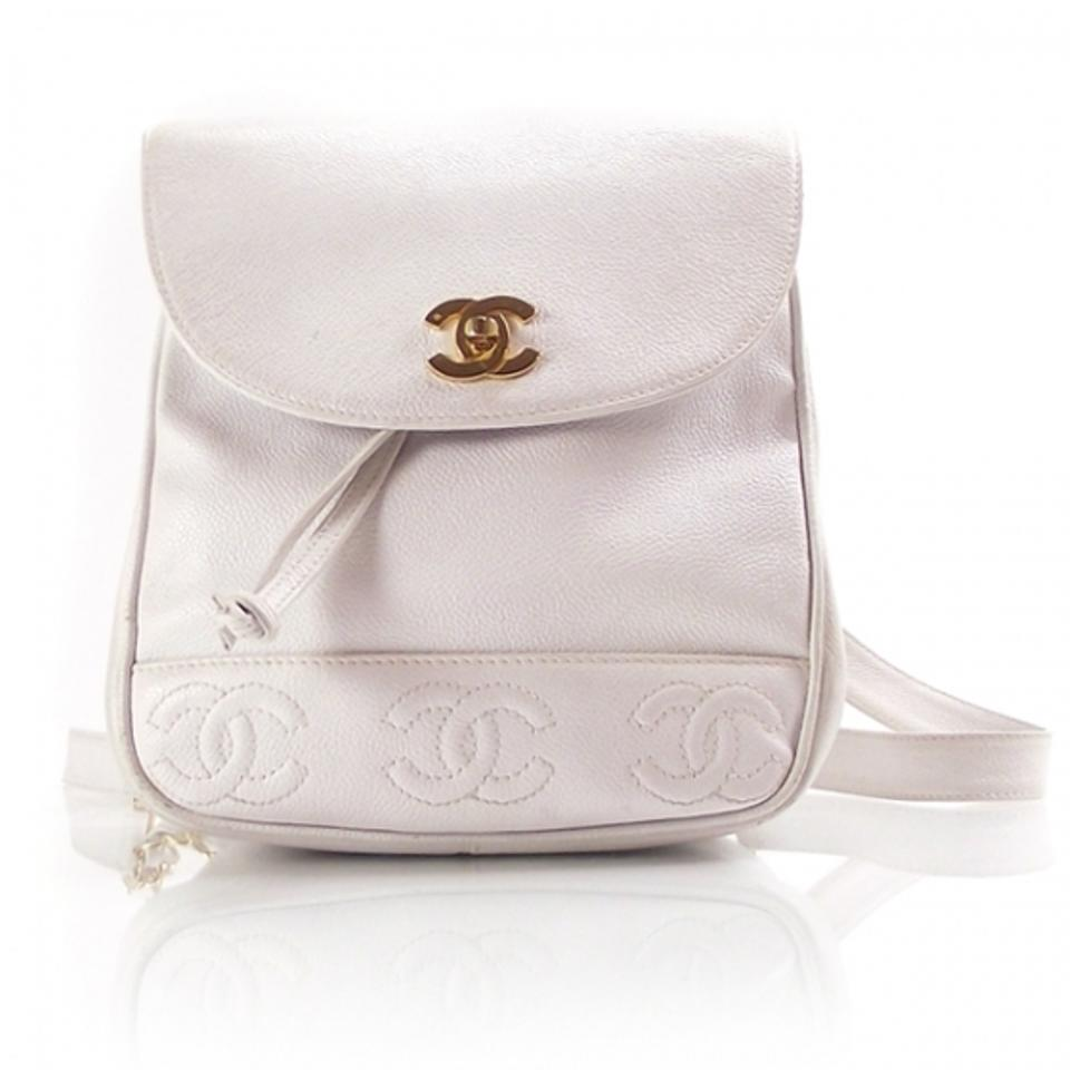 1f79c3b85ee6 Chanel Vintage Cc Stiching Logo White Caviar Leather Backpack - Tradesy
