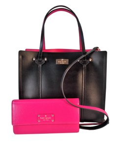 Kate Spade Arbour Hill Elodie Jean Tote in Black Sweetheart Pink