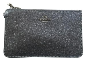 Coach Black Leather Metallic Wristlet in Black, Silver