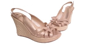 Marc Fisher Open Toe Espadrille Shimmery Taupe Wedges
