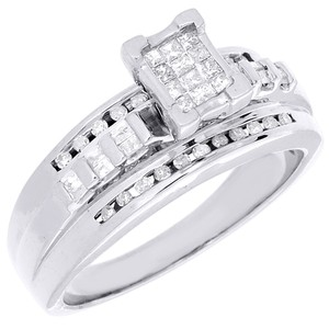 Sterling Silver Princess Cut Diamond Engagement Wedding Ring 0.36 Ct