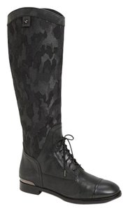 Joan & David Leather Knee High Tall Boot Black Camo Boots
