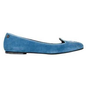 Philipp Plein Suede Blue with diamante skull Flats