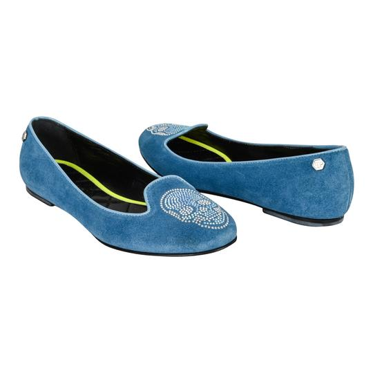 Philipp Plein Suede Blue with diamante skull Flats Image 1