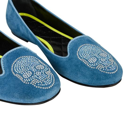 Philipp Plein Suede Blue with diamante skull Flats Image 2