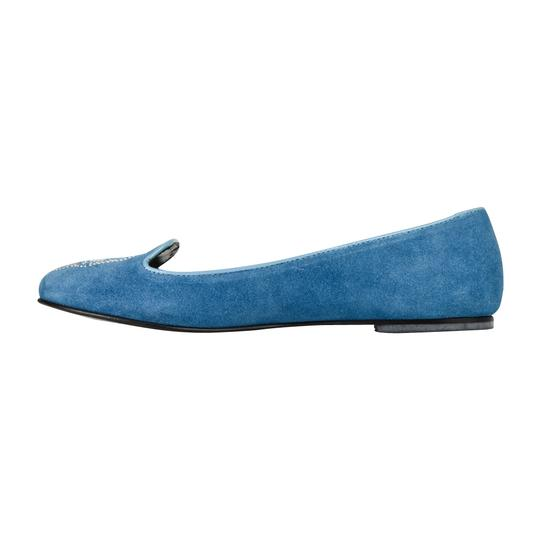 Philipp Plein Suede Blue with diamante skull Flats Image 3