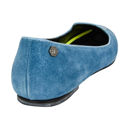 Philipp Plein Suede Blue with diamante skull Flats Image 5