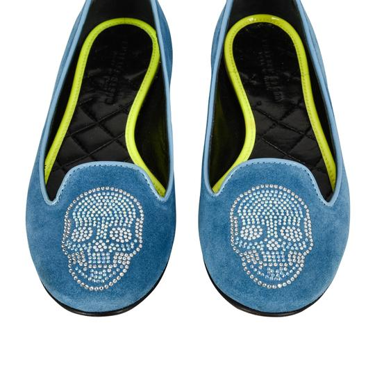 Philipp Plein Suede Blue with diamante skull Flats Image 6