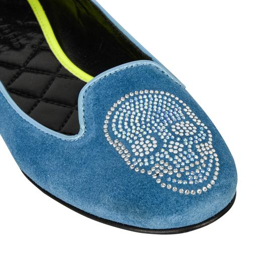 Philipp Plein Suede Blue with diamante skull Flats Image 7
