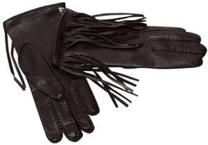 Versace NEW VERSACE BROWN LEATHER GLOVES w/ FRINGE size M