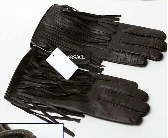 Versace NEW VERSACE BROWN LEATHER GLOVES w/ FRINGE size M Image 2