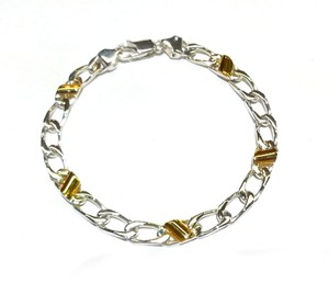 Tiffany & Co. Cuban Link Italy 18 Karat Yellow Gold And Sterling Silver Bracelet