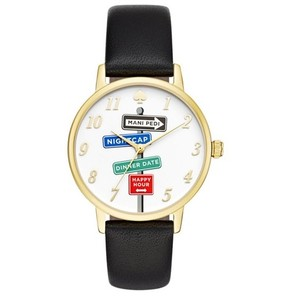 Kate Spade Kate Spade KSW1128 Metro Street Signs Gold Black Leather Band Watch