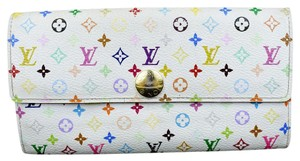 Louis Vuitton Sarah Long Bifold Wallet Monogram Multi M93743 White Clutch