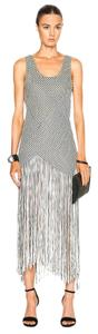 Black and White Maxi Dress by Proenza Schouler Checkered Vintage Fringe Hem