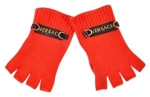 Versace NEW VERSACE RED 100% CASHMERE MEN'S GLOVES size M