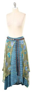 Free People Knit Mixed Media Floral Skirt Turquoise