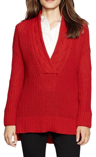 Preload https://img-static.tradesy.com/item/19849840/lauren-ralph-lauren-cotton-ribbed-cable-trim-v-neck-tunic-1x-red-sweater-0-3-650-650.jpg