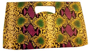 Patricia Field Sex And The City Snakeskin Green Multi Color Clutch